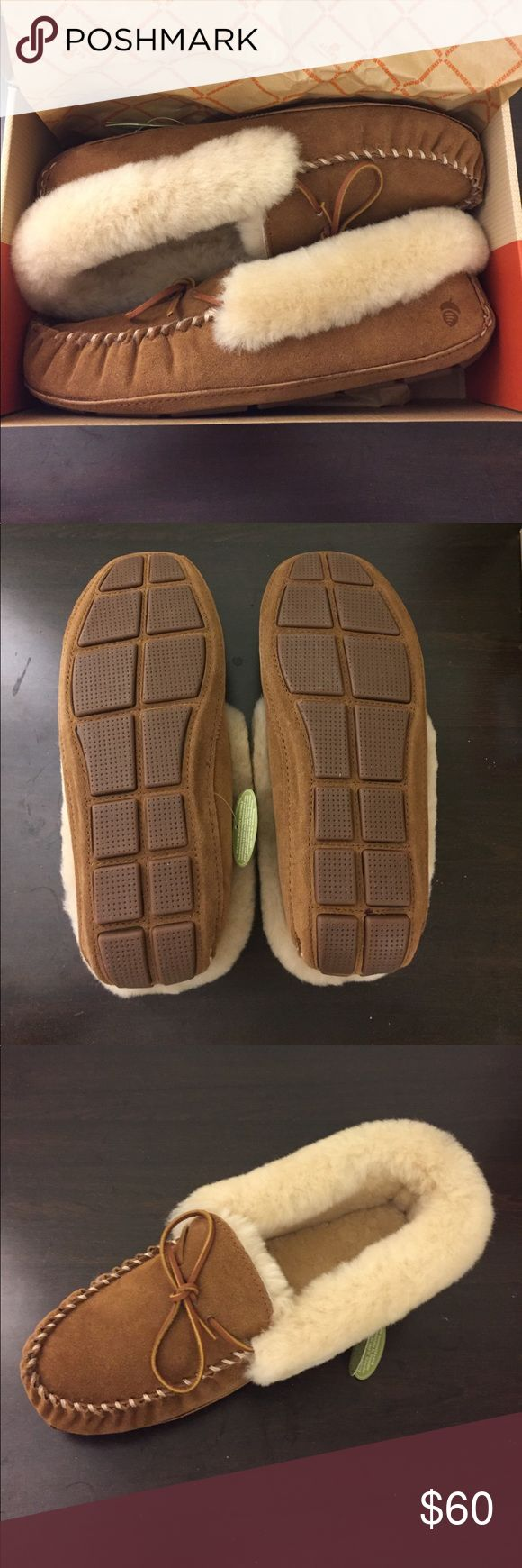 """NWT Acorn Sheepskin Moccasin Size 11 NWT chestnut-colored sheepskin """"Moxie"""" slippers. Soft, thick, and true to size. I've walked miles at a time in Acorn slippers before and never felt a thing. Acorn Shoes Moccasins"""