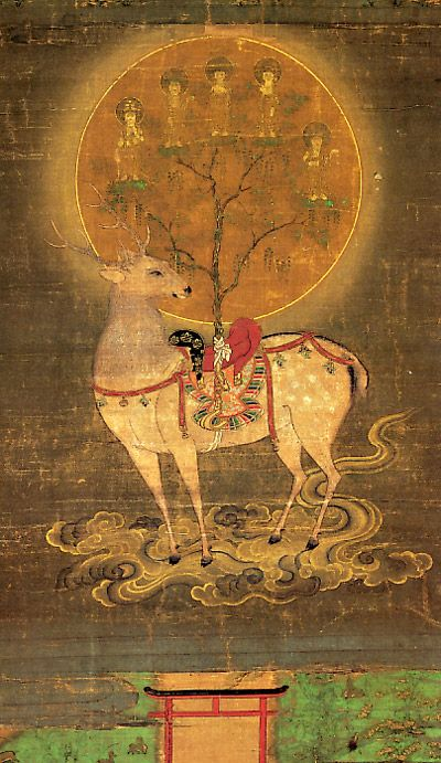 A deer, important in Buddhist symbolism, a direct reference to the Buddha's first teaching in the Deer Park, Sarnath.