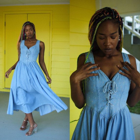 90s vintage blue denim dress bedazzled with clean gems & corset lace front. Size 8 by West LA - Gypsy hippie festival goddess tight laced