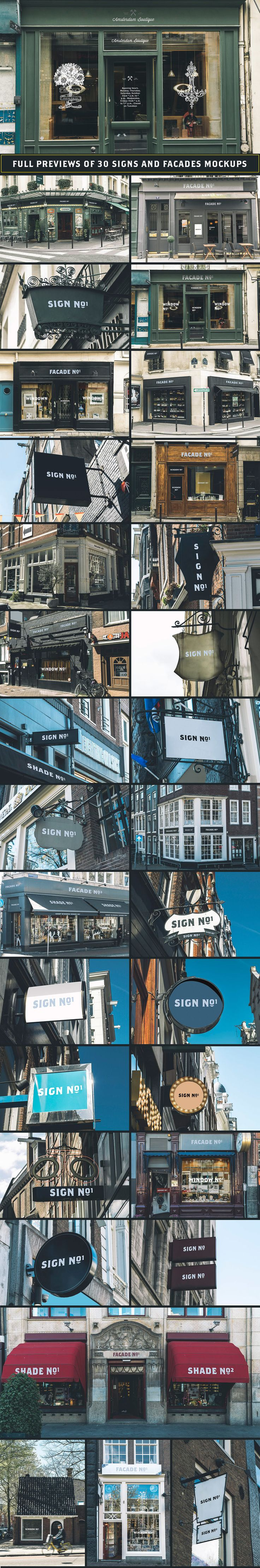 30 Sign and Facades mockups from Paris and Amsterdam