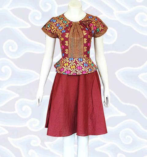 dress batik modern wanita DM86 warna marun elegant motif prodo lebih lengkap di http://senandung.net/baju-dress-batik-modern/