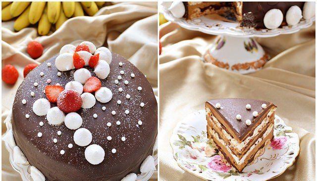 """Торт-безе """"Кофе и шоколад"""". Все любители кофе и шоколада сюда!;)Очень-очень вкусный ..."""