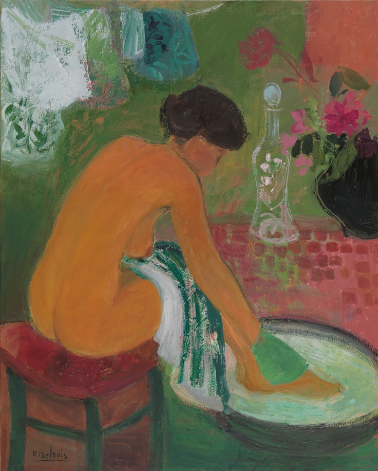 'La serviette rayée' (The striped towel) - Nancy Delouis (b.1941)
