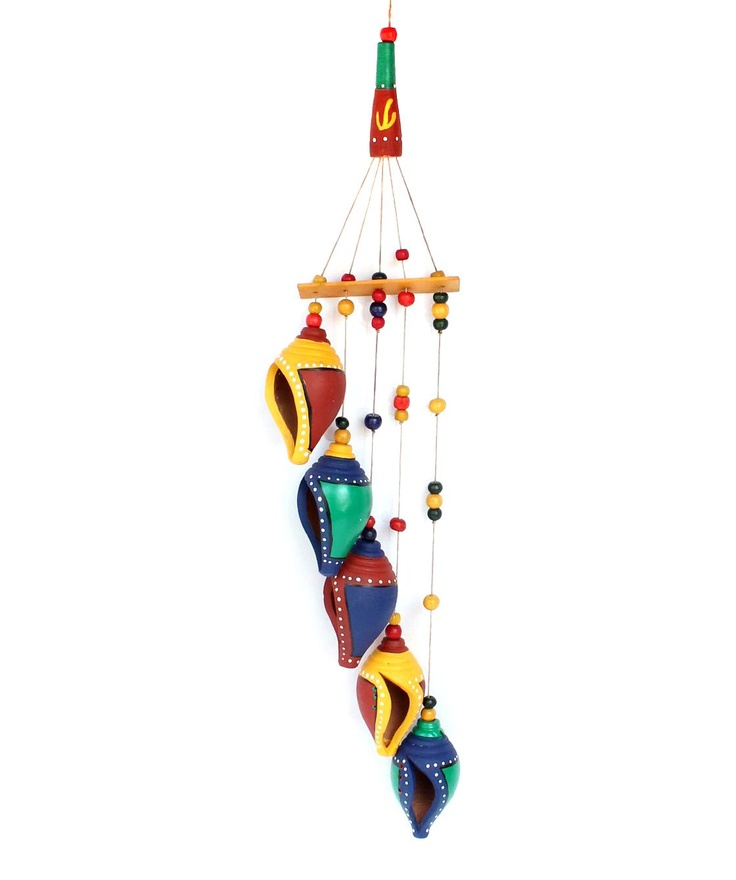 BRAND: Sourcing India  CATEGORY: Wall hanging chime  COLOUR: Multi  MATERIAL: Warli art terracotta  DIMENSIONS: L x W x H- 4 x 1.5 x 26 inches
