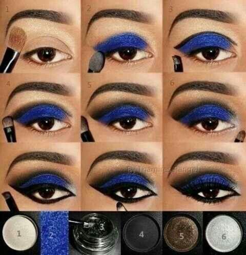 Royal blue & black eyeliner