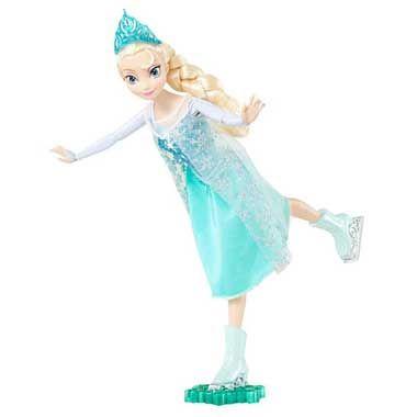 Disney Frozen schaatsende pop Elsa  Deze prachtige Elsa pop uit de film Frozen kan schaatsen. Bevestig haar op het plateautje en duw haar vooruit. Elsa draagt een schitterende blauwe jurk en heeft bijpassende blauwe schaatsen aan.  EUR 24.99  Meer informatie