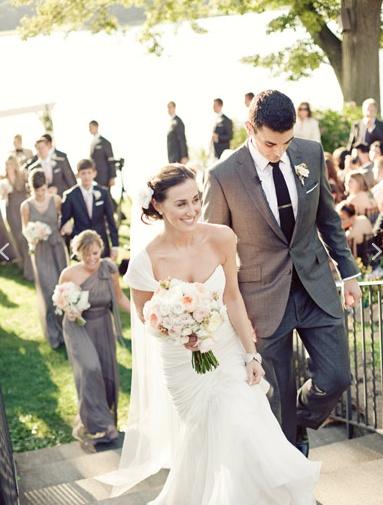 Bridesmaids in grey, Groomsmen in Black and bouquet matching tie, Groom in grey and black tie.