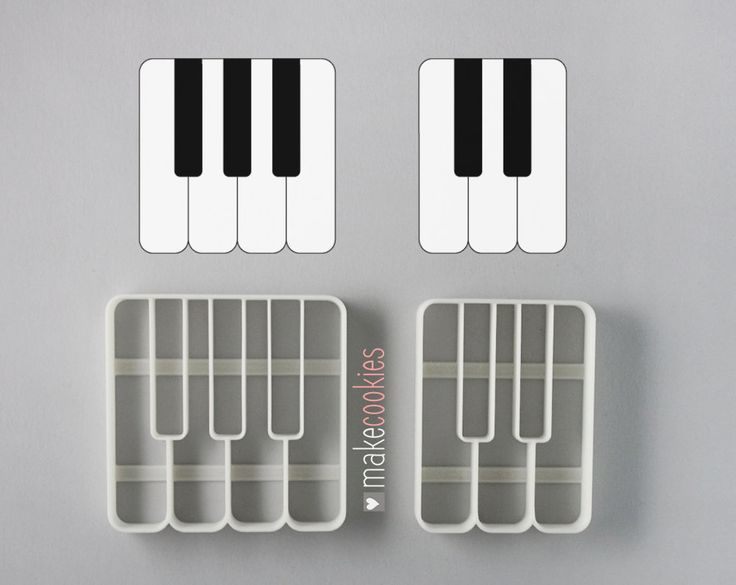 Piano Keys Cookie Cutters Set (2 pieces) by MakeCookies on Etsy