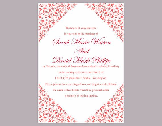DIY Wedding Invitation Template Editable Word File Instant Download Printable Invitation Red Invitation Elegant Invitation Flower invitation by TheDesignsEnchanted