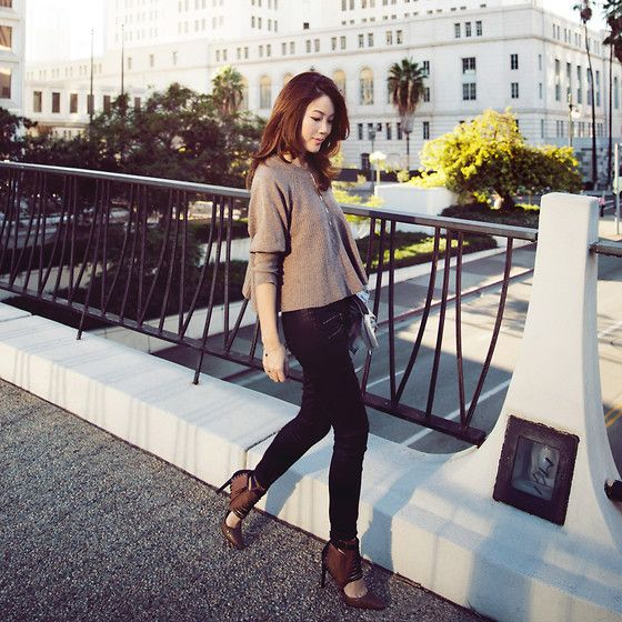 D.Ra Sweater, Paige Jeans, Dolce Vita Booties