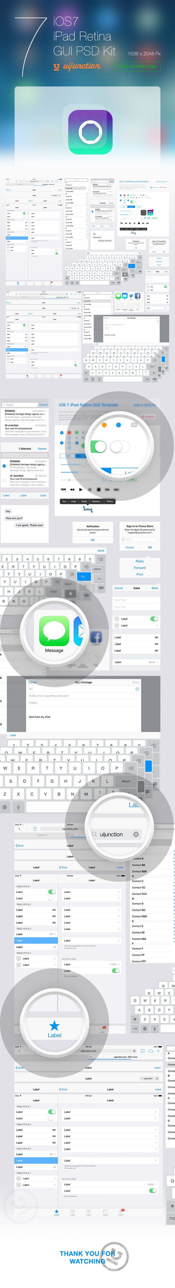 iOS 7 iPad Retina GUI PSD Kit by Chirag , via Behance