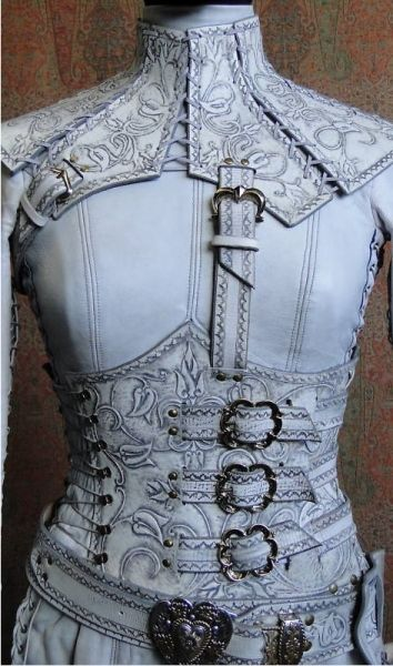 sweet mother of corsetry O_O there's an ox-blood version too *FLAIL* [denna's white mord'sith outfit - legend of the seeker]