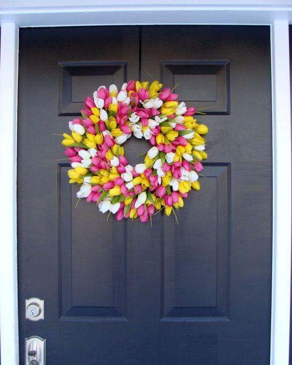 Summer Sale Silk Thin Spring Tulip Wreath Storm Door