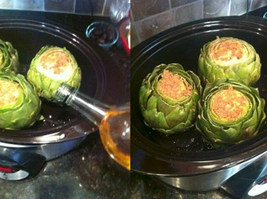 crockpot garlic artichokes - abt 4 hrs on high for large artichokes (2 in depth of liquid)