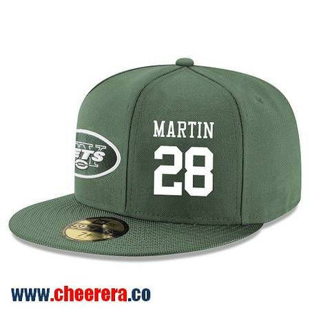 New York Jets #28 Curtis Martin Snapback Cap NFL Player Green with White Number Hat