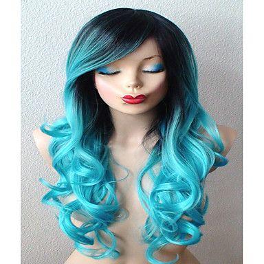 krickablått peruk långt lockigt hår med mörkt rötter peruk hållbara värmebeständigt mode peruk för dagligt bruk eller cosplay 5235757 2016 – Kr.186