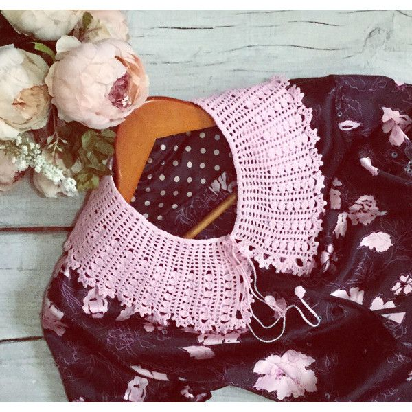 Crochet collar Detachable collar Retro party Cotton collar Lace... ($36) ❤ liked on Polyvore featuring dresses, going out dresses, pink collared dress, cotton dress, cotton party dress and colorblock dress