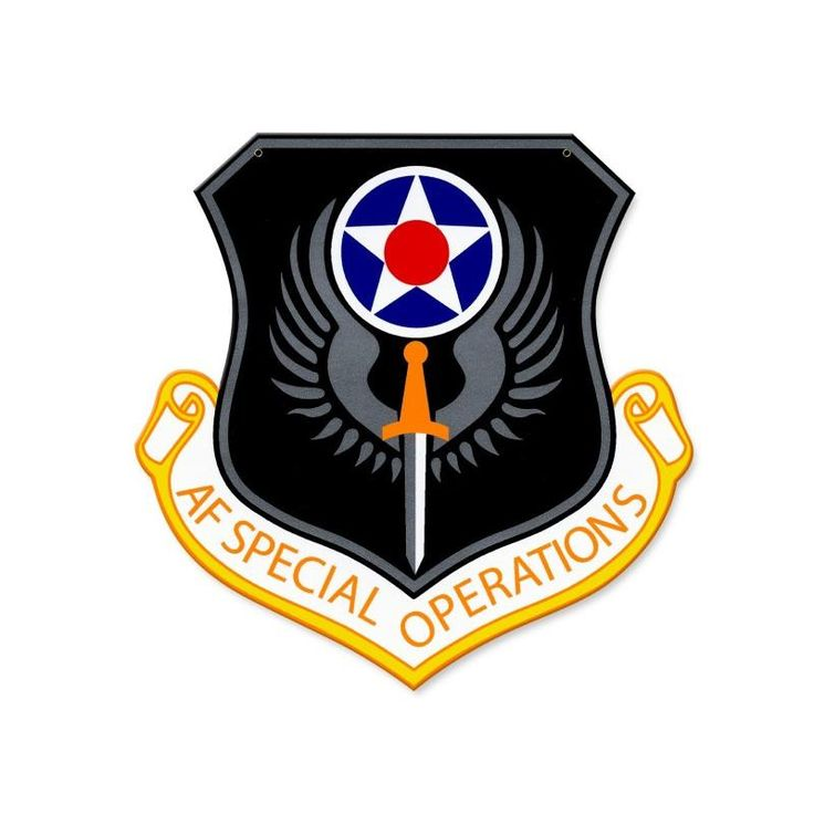 From the Altogether American licensed collection, this Air Force Special Operations Command Sign custom metal shape measures 15 inches by 15 inches and weighs in at 2 lb(s). This custom metal shape is