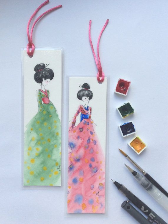 Original painting bookmarks Japanese design por MusettayMimi