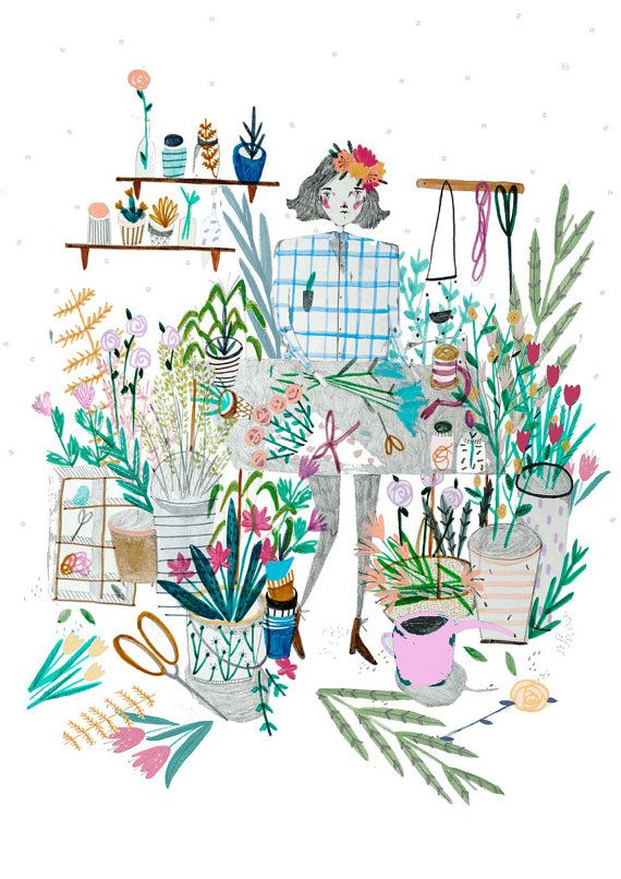 Hey, I found this really awesome Etsy listing at https://www.etsy.com/listing/182196131/the-florist-flower-illustration-wall-art