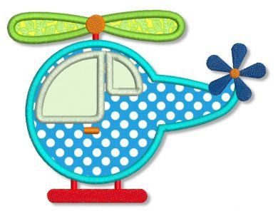 HELICOPTER Applique 4x4 5x7 Machine Embroidery Design boy girl baby child  INSTANT Download