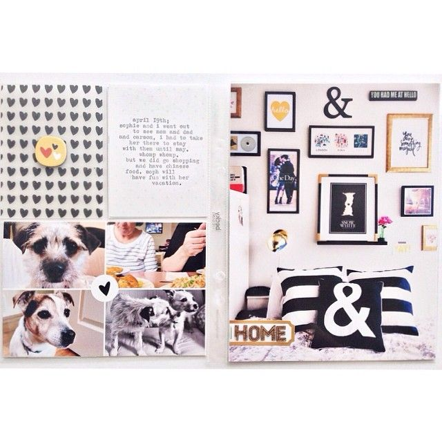 POCKET SCRAPBOOK LAYOUT ~ Loving that gallery wall in the photo.