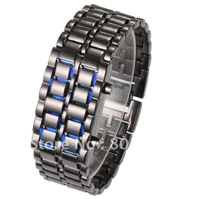 Праздничная распродажа Творческий самураев Утюга типа ЛАВЫ синий свет черная полоса мужские часы Led цифровые Часы CM051