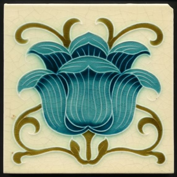 TH2871 Gorgeous Blue Flower Mintons Art Nouveau Majolica Tile c.1900. A gorgeous rare tile with a bold flowerhead well painted in two blues with stems and leaves curling around in a lively celtic style. | eBay!