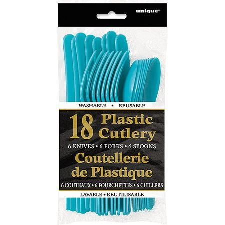 Teal Plastic Cutlery Set for 6 Guests (18pcs)