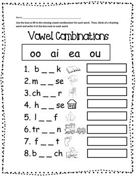 Enjoy this FREE worksheet to practice and reinforce those tricky vowel combinations. Your students will use the box to choose from one of the four targeted combinations to complete the word. Then, they will need to think of a rhyming word for each and write it in the box next to each word.