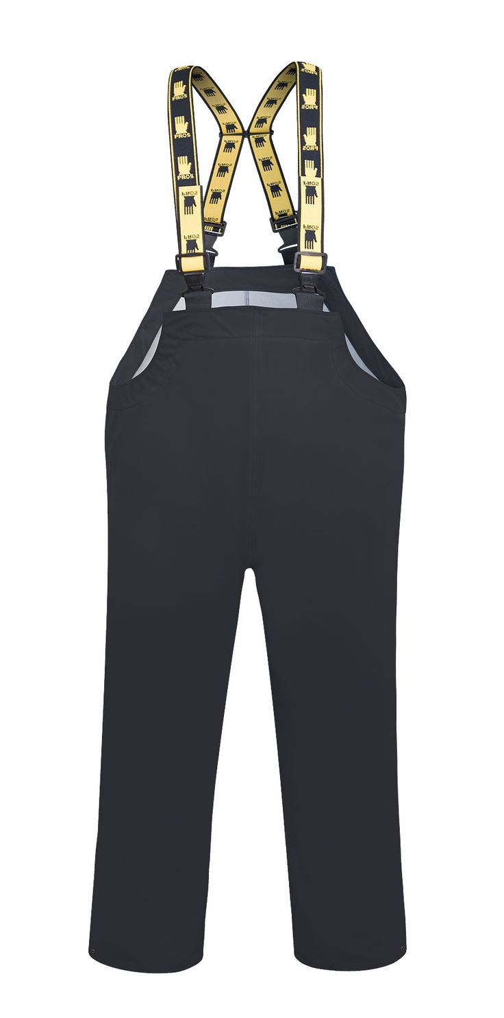 WATERPROOF BIBPANTS Model: 084 The bibpants have adjustable elasticated braces and side and legs adjustement by snaps. The model is made of light waterproof and breathable fabric called Aquapros and it has been designed to be used at unfavorable weather conditions. Thanks to double welded high frequency seams the product protects against rain and wind. The bibpants conforms to EN ISO 13688 and EN 343 standards.