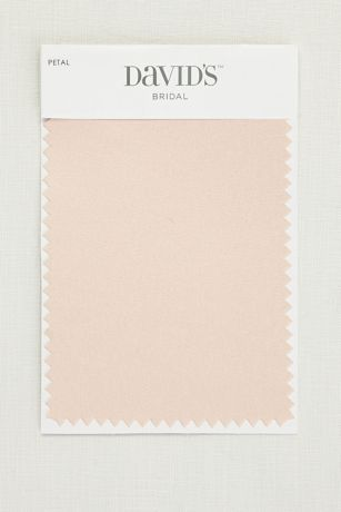 """Available in all of David's Bridal's exclusive colors, our fabric swatches make it easy to pick your palette and coordinate your whole day.  Fabric swatch shown in Petal  Lace: Romantic, textured, and classic  Mesh: Lightweight, stretchy, and comfortable  Satin: Lustrous, timeless, and elegant  5.5""""L, 3.5""""W  Ships for free"""