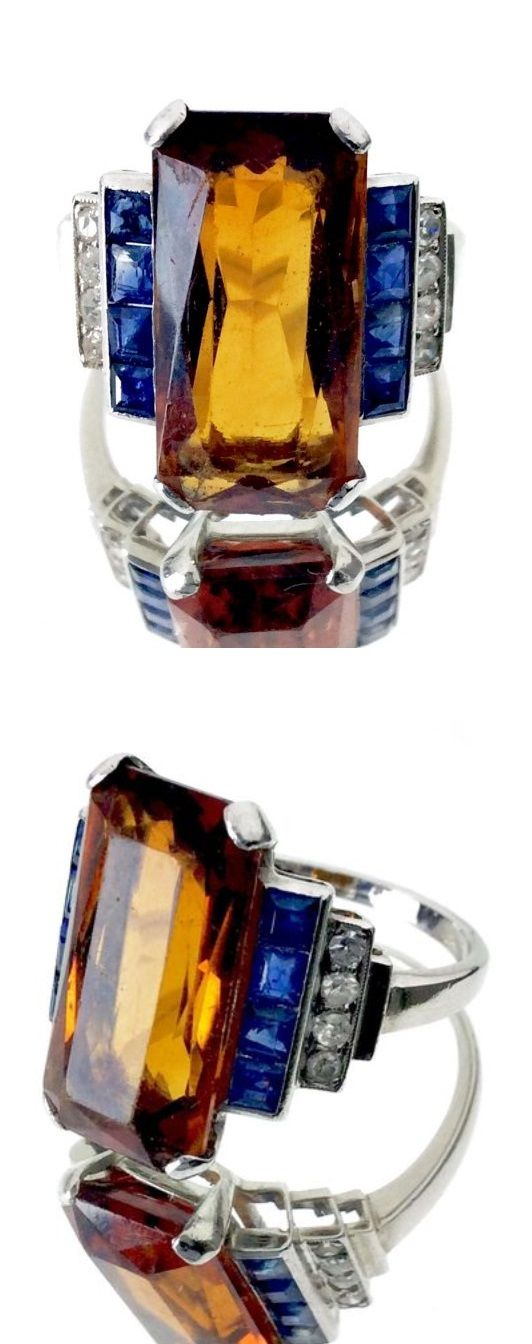 http://rubies.work/1006-citrine/ Fouquet - An Art Deco platinum, citrine, sapphire and diamond ring, Paris, circa 1925.