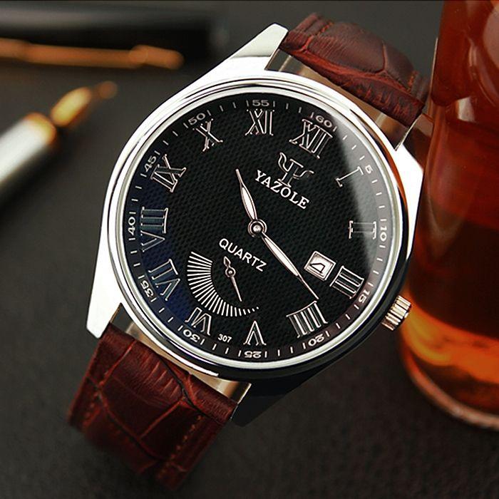 7.99$  Watch now - http://ali7n8.shopchina.info/go.php?t=32789405221 - YAZOLE 307 Mens Dazzle Blue Mirror Quartz Watch Roman Number Date Display Luminous Wristwatches 2017 New 7.99$ #magazineonlinewebsite