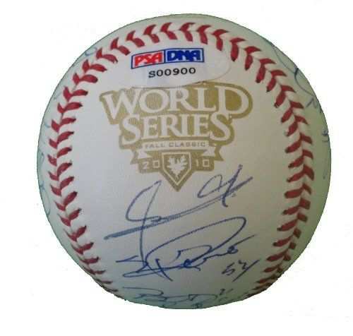 2010 San Francisco Giants Team Autographed 2010 World Series Rawlings Official Baseball with 21 Signatures Total, PSA/DNA Authenticated, Proof Photos by Southwestconnection-Memorabilia. $1.90. This is a 2010 San Francisco Giants team autographed Rawlings 2010 World Series official game baseball. The following Giants have signed the ball in blue ballpoint pen: Manager Bruce Bochy, 2-time Cy Young winner Tim Lincecum, 2010 Rookie of the Year Buster Posey, 2010 World Series M...