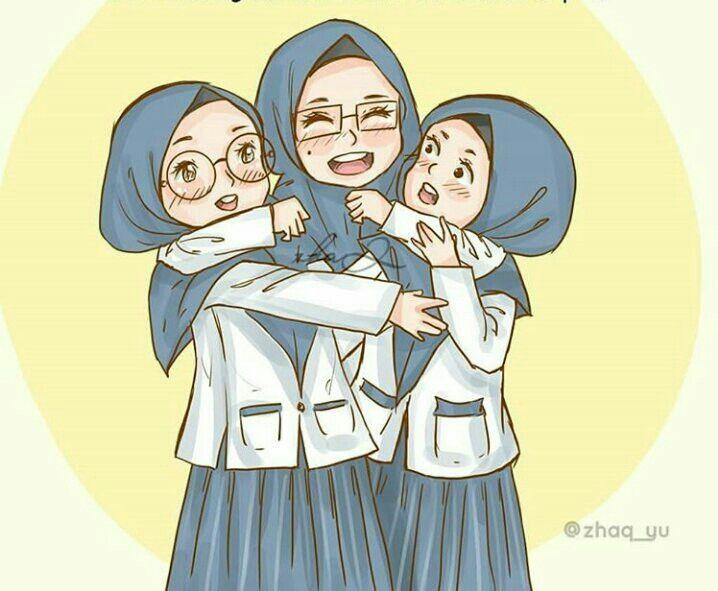 3 Friends Hijab Girl Friends Girl Hijab My Blog Ilustrasi Karakter Kartun Chibi
