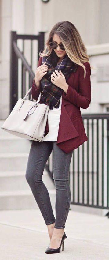 #fall #fashion / burgundy blazer + tartan scarf