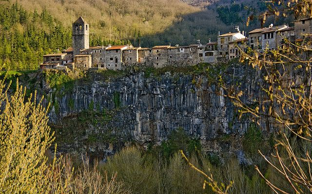 Castellfollit, Spain, the town in the rocks