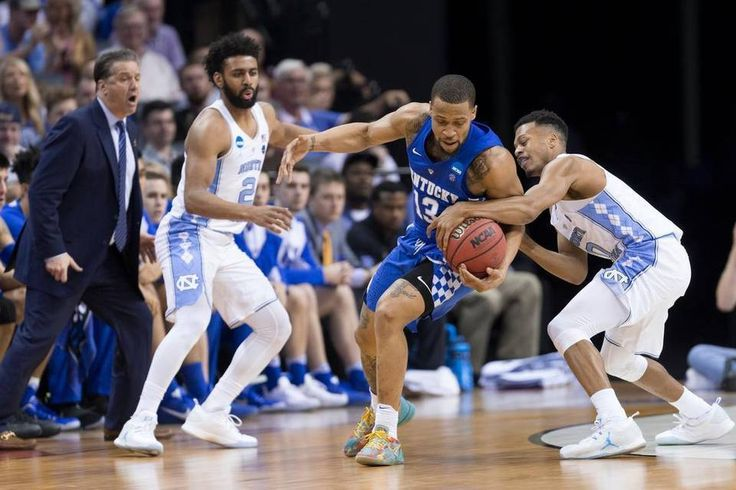 Kentucky guard Isaiah Briscoe steals the ball from North Carolina guard Joel Berry II in the first half. The University of Kentucky hosted the University of North Carolina in a 2017 NCAA D1 Men's South Regional Championship, Sunday, March 26, 2017 at FedExForum in Memphis.