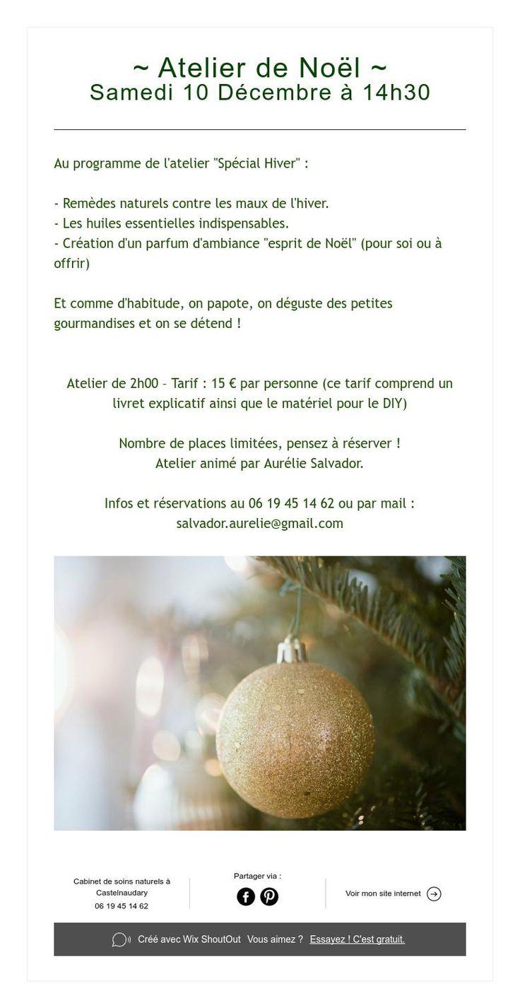 ~ Atelier deNoël ~  Samedi 10 Décembre à 14h30