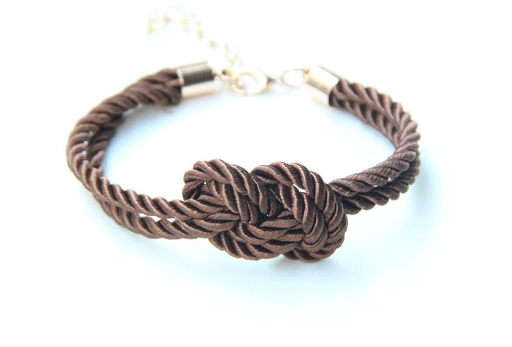 ON SALE: Bridesmaid gift - Mini Brown silk Knot Bracelet - 24k gold plated