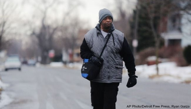 Hundreds of people have contributed tens of thousands of dollars to help a Detroit man who says he walks 21 miles to and from work.