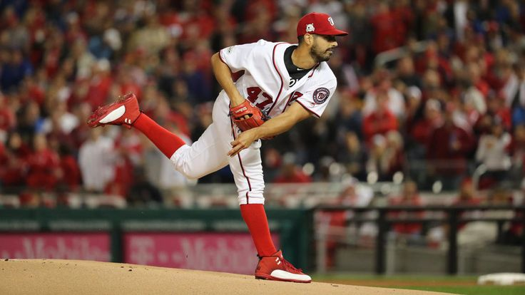 October 12, 2017:  NLDS Game 5: Cubs-Nationals -   the Cubs advanced to the National League Championship Series with a thrilling 9-8 victory over the Nationals in Game 5 of the NLDS.     Nationals starting pitcher Gio Gonzalez delivers to the Cubs in the first inning.