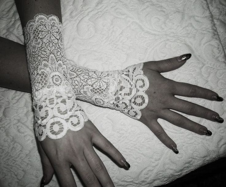 The SNOW WOLF white french lace cuffs white by maryandangelika, $22.00