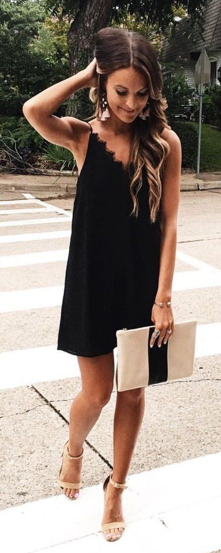 #spring #outfits  Black Little Dress & Nude Sandals
