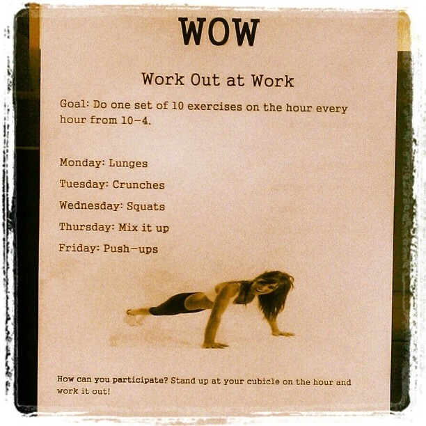 WOW - Work Out at Work! Maybe I'll get my students involved!