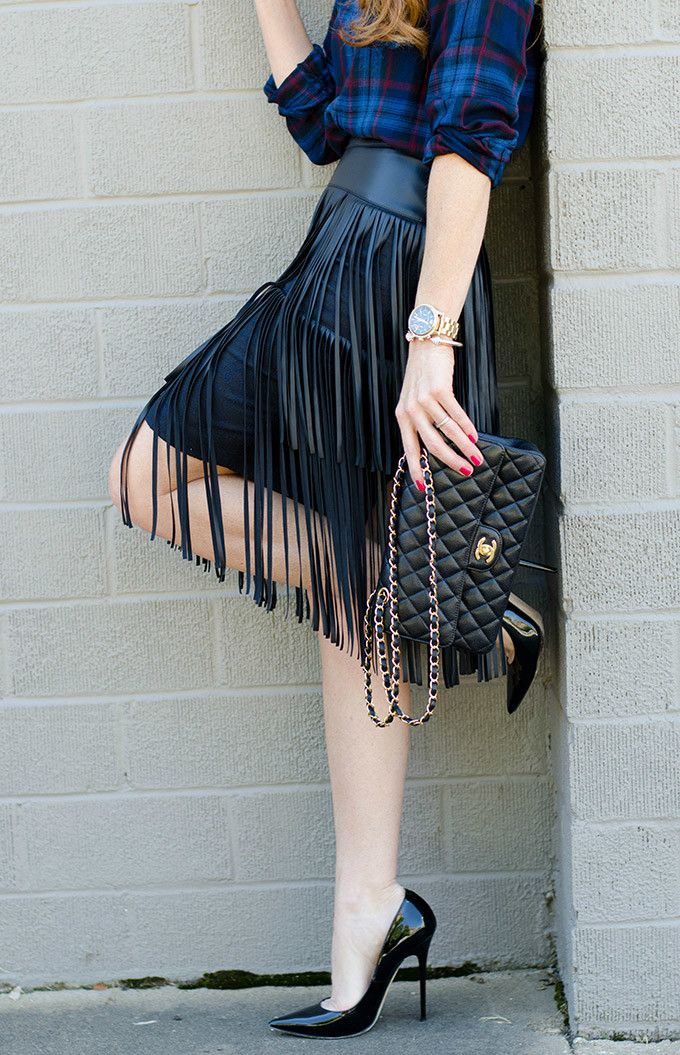 Plaid and Leather Fringe…