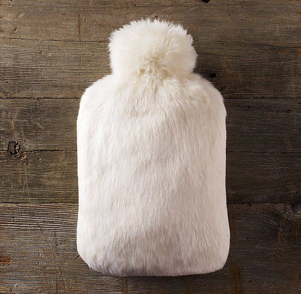 luxe faux fur hot water bottle - looks like a cuddly sheep omg!