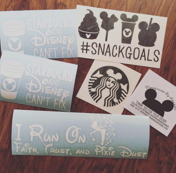 DISNEY DECALS • monogramsbyamanda.etsy.com • MONOGRAMS BY AMANDA • @monogramsbyamanda • Disney Decal •Disney and Starbucks #disney #disneyworld #disneyland #disneystarbucks #disneysnacks
