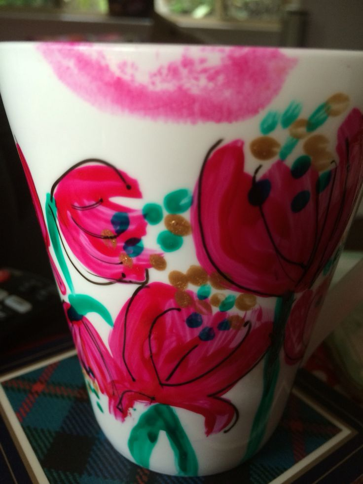 When drinking from a gorgeous hot pink hand painted fine bone china mug one should always wear matching lipstick
